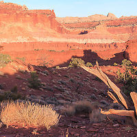 Henry Mountains of Capitol Reef National Park in last light of the day, long shadows abound. Near Torrey, Utah
