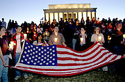 September 14, 2001_Lincoln Memorial, Washington,DC.People in Washington at the Lincoln memorial, like others across the nation came out at 7PM to light candles for those that died or were injured in the terrorists acts this week across the US.  .(C) 2001 Sandy Schaeffer / MAI / TimePix