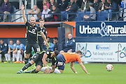 York City midfielder Russell Penn appeals for a foul on York City forward Vadaine Oliver during the Sky Bet League 2 match between Luton Town and York City at Kenilworth Road, Luton, England on 10 October 2015. Photo by Simon Davies.
