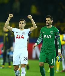 November 21, 2017 - Dortmund, Germany - L-R Tottenham Hotspur's Harry Winks and Tottenham Hotspur's Hugo Lloris.after UEFA Champion League Group H Borussia Dortmund between Tottenham Hotspur played at Westfalenstadion, Dortmund, Germany 21 Nov 2017  (Credit Image: © Kieran Galvin/NurPhoto via ZUMA Press)