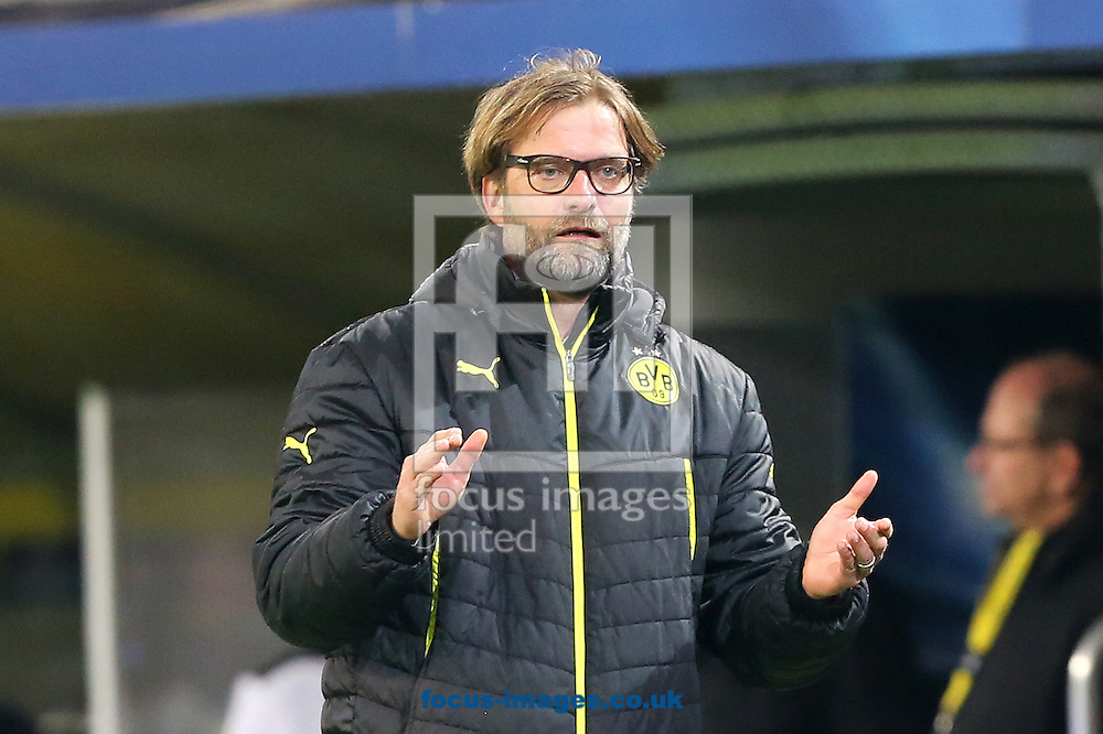 Jurgen Klopp, former Borussia Dortmund manager, has been linked to the vacant post at Liverpool FC following the sacking of Brendan Rodgers earlier today. <br /> Picture by Focus Images/Focus Images Ltd 07814 482222<br /> 04/10/2015<br /> <br /> FIL DORTMUND MADRID 66.jpg<br /> <br /> File image for live news.<br /> <br /> Original caption:<br /> <br /> Manager of Borussia Dortmund, Jurgen Klopp during the UEFA Champions League match against Real Madrid at Westfalenstadion, Dortmund<br /> Picture by Richard Calver/Focus Images Ltd +447792 981244<br /> 08/04/2014