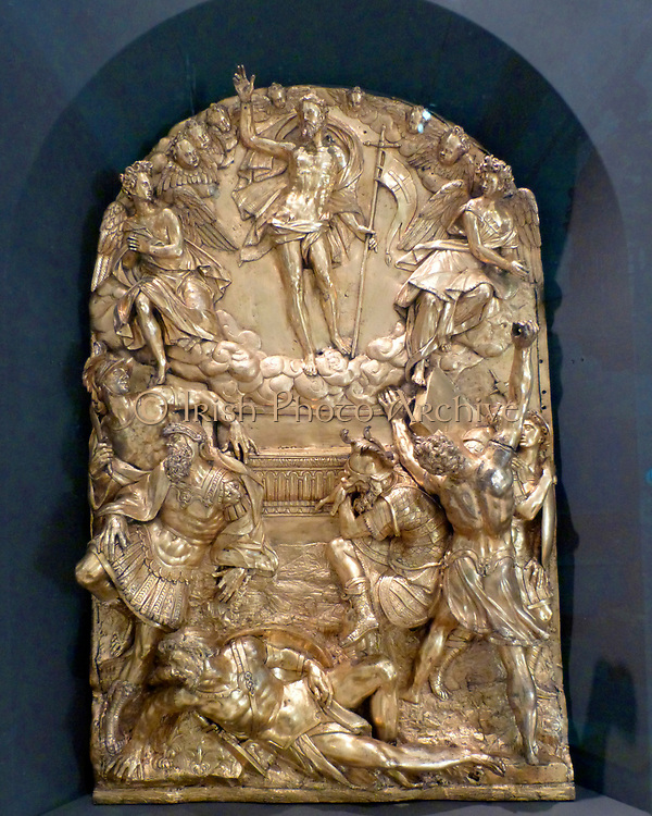 Part of a memorial altar showing the resurrection, prophets and angels.  Hubert Gerhard (about 1550-1620).  This is his first documented work, who helped introduce the style of the Italian High Renaissance to Northern Europe.  The altar commemorated the wealthy merchant Christopher Fugger, who died in 1579.