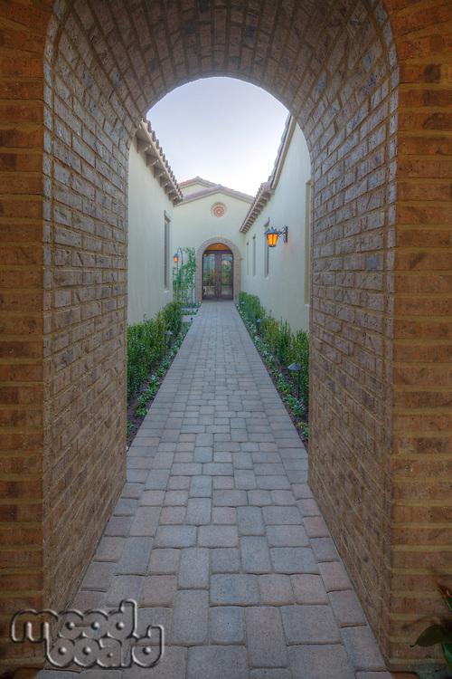 Narrow walkway in mansion