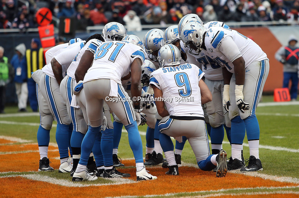 The Detroit Lions calls a play in the huddle from their own end zone during the NFL week 17 regular season football game against the Chicago Bears on Sunday, Jan. 3, 2016 in Chicago. The Lions won the game 24-20. (©Paul Anthony Spinelli)