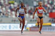Dina Asher-Smith (Great Britain), Salome Kora (Switzerland), 100 Metres Women, Round 1 Heat 4, during the 2019 IAAF World Athletics Championships at Khalifa International Stadium, Doha, Qatar on 28 September 2019.