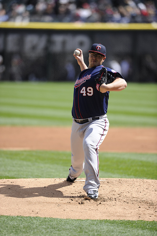 CHICAGO - APRIL 20:  Vance Worley #49 of the MInnesota Twins pitches against the Chicago White Sox on April 20, 2013 at U.S. Cellular Field in Chicago, Illinois.  The Twins defeated the White Sox 2-1 .  (Photo by Ron Vesely)   Subject:  Vance Worley