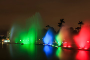 Colourful illuminated fountain, Magic Water Tour (El Circuito Magico del Agua) at the Park of the Reserve (Parque de la Reserva) Lima, Peru
