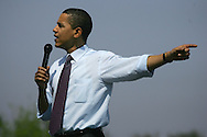 Edinburg, TX - 22 Feb 2008 -.Sen. Barack Obama gestures while speaking at a campaign rally held at UTPA on Friday morning.