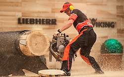 15.11.2014, Olympiaworld, Innsbruck, AUT, Stihl Timbersports WM, im Bild der Canadier Stirling Hart (CAN)// during the Stihl Timbersport World Championships at the Olympiaworld in Innsbruck on 2014/11/15, EXPA Pictures © 2014 PhotoCredit EXPA/ Jakob Gruber