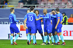 November 14, 2017 - Bucharest, Romania - Ryan Babel, Steven Berghuis, Kevin Strootman of Netherlands celebrating a goal during International Friendly match between Romania and Netherlands at National Arena Stadium in Bucharest, Romania, on 14 november 2017. (Credit Image: © Alex Nicodim/NurPhoto via ZUMA Press)