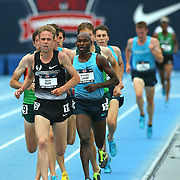 RUPP - 13USA, Des Moines, Ia.  - With one lap to go in a slow and tactical 5,000, Galen Rupp began his kick, but couldn't shake Bernard Lagat, the eventual winner.  Photo by David Peterson