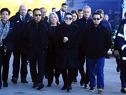 Aiyawatt Srivaddhanaprabha (right) arrives with family members to lay a wreath in memory of Vichai Srivaddhanaprabha, who was among those to have tragically lost their lives on Saturday evening when a helicopter carrying him and four other people crashed outside King Power Stadium.