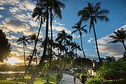Nawiliwili Beach walkway at Kauai Marriott Resort, Lihue, island of Kauai, Hawaii, USA.