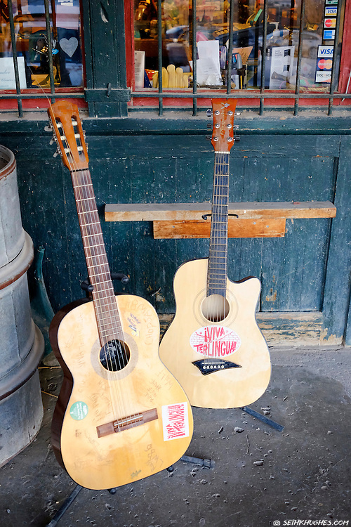 Guitars sit on the front porch of the Terlingua Ghost Town general store in Texas.