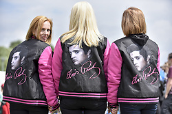 July 23, 2017 - London, United Kingdom - Fans attend the capital's first ever ''Elvis Fest'' to mark the 40th anniversary of the King of Rock'n'Roll's death in 1977. Taking place in Parsloes Park, Dagenham, the festival includes a variety of tribute acts representing Elvis through his career. (Credit Image: © Stephen Chung/London News Pictures via ZUMA Wire)