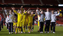 Manchester, England - Thursday, April 26, 2007: Liverpool's players celebrate after beating Manchester United on penalties to win the FA Youth Cup for the second successive year during the FA Youth Cup Final 2nd Leg at Old Trafford. L-R: captain Jay Spearing, Stephen Darby, Michael Burns. (Pic by David Rawcliffe/Propaganda)