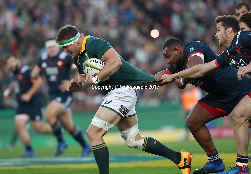 Jaco Kriel of South Africa tackled by Damian Penaud of France during the 2017 Incoming Rugby Series between South Africa and France at Ellis Park Stadium, Johannesburg, South Africa on 24 June 2017 @Gavin Barker/BackpagePix