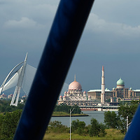 A scenic of Putrajaya's landmark, Wawasan Bridge (L),Putra Mosque (C) and Perdana Putra, the prime minister's office. Putrajaya's is the Malaysia's administrative capital.