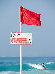 Surfing area at Jumeirah public beach in Dubai in United Arab Emirates