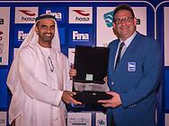 Ahmed Al Falasi, President UAE Swimming Federation <br /> Jon Hestoy FINA<br /> Gala Dinner<br /> FINA/HOSA 10 Km Marathon Swimming World Cup  2016<br /> Khalideya Palace<br /> Day1  26 Feb.2016<br /> Photo G.Scala/Insidefoto/Deepbluemedia