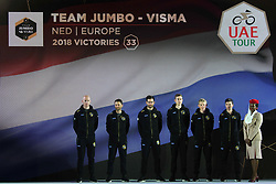 February 23, 2019 - Abu Dhabi, United Arab Emirates - Team Jumbo - Visma from Netherlands, during the Team Presentation, at the opening ceremony of the 1st UAE Tour, inside Louvre Abu Dhabi museum..On Saturday, February 23, 2019, Abu Dhabi, United Arab Emirates. (Credit Image: © Artur Widak/NurPhoto via ZUMA Press)
