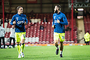Derby County (36) Joe Ledley, Derby County (12) Chris Baird during the warm up at EFL Sky Bet Championship match between Brentford and Derby County at Griffin Park, London, England on 26 September 2017. Photo by Sebastian Frej.