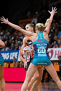 SYDNEY, NSW - JUNE 22: Joanna Weston of the Vixens blocks Kiera Austin of the Giants during the round 9 Super Netball match between the Giants and the Vixens at Quaycentre on June 22, 2019 in Sydney, Australia. (Photo by Speed Media/Icon Sportswire)