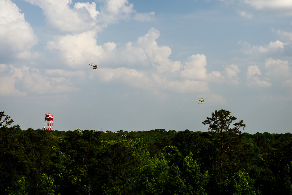X-Wing fighters engage in afternoon maneuvers near my house.