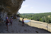 Visitors exploring La Roque Saint Christophe the fortified town in the cliff above the Vezere river ..., Travel, lifestyle