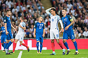 (10) Dele Alli, Slovakia (3) Martin SKRTEL during the FIFA World Cup Qualifier match between England and Slovakia at Wembley Stadium, London, England on 4 September 2017. Photo by Sebastian Frej.