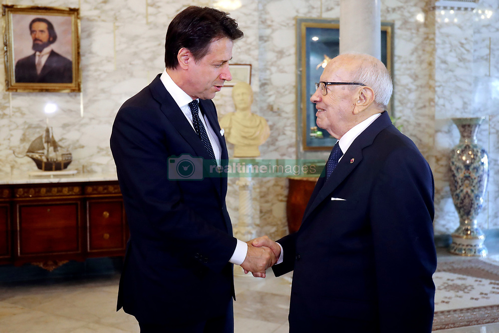 November 2, 2018 - Carthage, Tunisia - The President of the Republic Béji Caid Essebsi received this Friday November 2, 2018, at the Carthage Palace, Giuseppe Conte, President of the Italian Council of Ministers. Mr Conte's visit is the first in the Maghreb countries after the formation of the new Italian government..Tunisia-Italy: The President of the Republic receives the President of the Italian Council of Ministers. (Credit Image: © Chokri Mahjoub/ZUMA Wire)