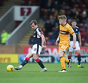 Dundee's Paul McGowan and Motherwell's Chris Cadden - Motherwell v Dundee in the Ladbrokes Scottish Premiership at Fir Park, Motherwell.Photo: David Young<br /> <br />  - © David Young - www.davidyoungphoto.co.uk - email: davidyoungphoto@gmail.com