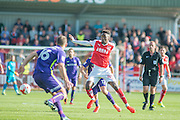Fleetwood Town striker Devante Cole (44) hold off the defender during the EFL Sky Bet League 1 match between Fleetwood Town and Charlton Athletic at the Highbury Stadium, Fleetwood, England on 10 September 2016. Photo by John Marfleet.