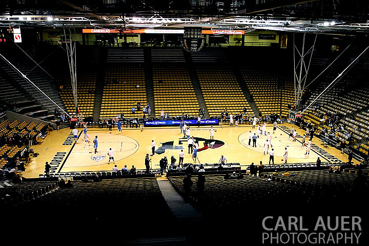 January 12th, 2013: The Bruins and Buffaloes warm up on the court before the start of the NCAA basketball game between the UCLA Bruins and the University of Colorado Buffaloes at the Coors Events Center in Boulder CO
