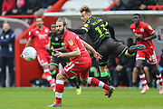 Forest Green Rovers George Williams(11) flicks the ball on during the EFL Sky Bet League 2 match between Crawley Town and Forest Green Rovers at The People's Pension Stadium, Crawley, England on 6 April 2019.