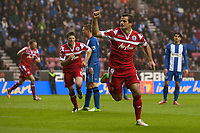 Football - 2012 / 2013 Premier League - Wigan Athletic vs. Queens Park Rangers<br /> QPR's Ryan Nelsen celebrates his 1-1 equalising goal at the DW Stadium