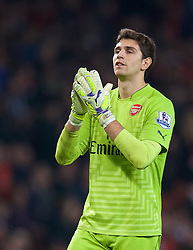 LONDON, ENGLAND - Saturday, November 22, 2014: Arsenal's goalkeeper Emiliano Martinez looks dejected as Manchester United win 2-1 during the Premier League match at the Emirates Stadium. (Pic by David Rawcliffe/Propaganda)