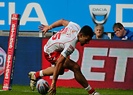 Kieren Moss of Hull Kingston Rovers scores his 2nd try of the game against Hull FC  during the Betfred Super League match at the Dacia Magic Weekend, St. James's Park, Newcastle<br /> Picture by Stephen Gaunt/Focus Images Ltd +447904 833202<br /> 20/05/2018