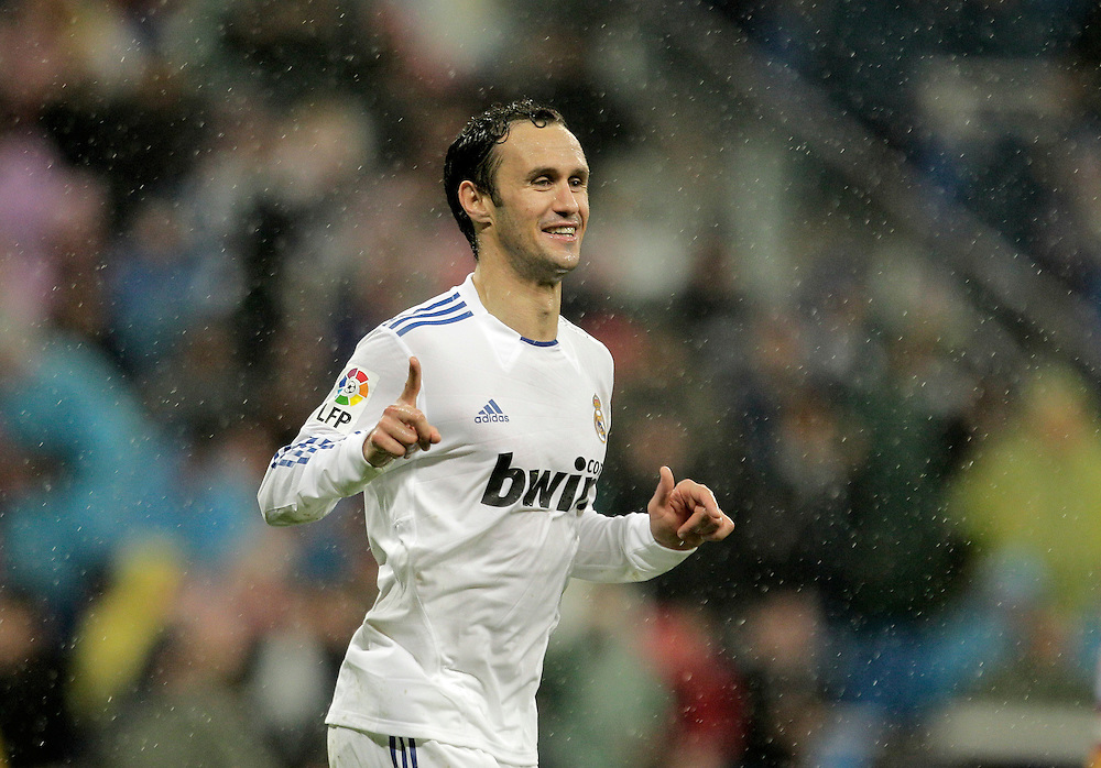 Real Madrid's Ricardo Carvalho from Portugal celebrates after scoring against Levante during a Spanish La Liga soccer match at the Santiago Bernabeu stadium in Madrid, Saturday, Feb. 19, 2011.