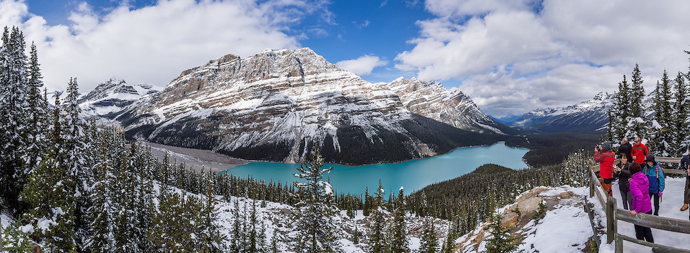 Snow covers the Waputik Range above turquoise Peyto Lake (1860 m or 6100 ft), in the Canadian Rockies, Banff National Park, Alberta. Bill Peyto was an early trail guide and trapper in the Banff area. Suspended rock particles of glacial rock flour create its bright  turquoise colour. Bow Pass (2068 m or 6787 ft) is the highest point on the Icefields Parkway, and a side road leads to a nature trail to Peyto Viewpoint (and higher bus road to wheelchair access). The lake is fed by Peyto Creek, which drains water from Caldron Lake and Peyto Glacier (part of the Wapta Icefield). Peyto Lake is the origin of the Mistaya River, which heads northwest. Banff National Park is Canada's oldest national park, established in 1885. Banff is part of the Canadian Rocky Mountain Parks World Heritage Site declared by UNESCO in 1984. This panorama was stitched from 9 overlapping images.