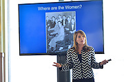 Maddy Dychtwald, co-founder and SVP of Age Wave, speaking at Cognizant event on Women Empowerment, longevity and resiliency in the workplace, The Liberty House, Jersey City,NJ 4/14/16.