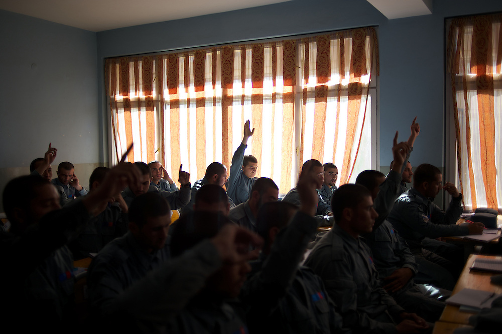 November 14, 2012 - Kabul, Afghanistan: Afghan National Police (ANP) cadets receive theory classes at the Afghan Nacional Police Academy...ANP Academy trains 1250 cadets at the time during a period of four years. Every year, five hundred new recruits are selected, out of more than nine thousand of candidates, to join the academy and other five hundred graduate. Fifteen per cent of the recruits are women. (Paulo Nunes dos Santos)
