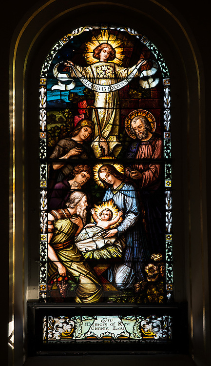 Stained glass window in St. Francis Xavier Cathedral, Green Bay, depicting the Nativity. (Sam Lucero photo)