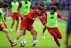 ROTTACH-EGERN, GERMANY - Friday, July 28, 2017: Liverpool's Emre Can and Mohamed Salah during a training session at FC Rottach-Egern on day three of the preseason training camp in Germany. (Pic by David Rawcliffe/Propaganda)