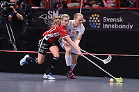 2019-04-27 | Stockholm, Sweden: Kais Mora IF (21) Moa Gustafsson and Täby FC IBK (9) Elin Gillberg during the game between KAIS Mora IF and Täby FC IBK at Ericsson Globe Arena ( Photo by: Simon Holmgren | Swe Press Photo )<br /> <br /> Keywords: Ericsson Globe Arena, Stockholm, Floorball, SM-Final, KAIS Mora IF, Täby FC IBK