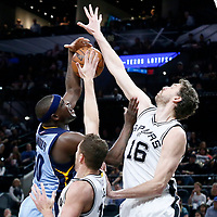 04 April 2017: Memphis Grizzlies forward Zach Randolph (50) is blocked by San Antonio Spurs forward David Lee (10) and San Antonio Spurs center Pau Gasol (16) during the San Antonio Spurs 95-89 OT victory over the Memphis Grizzlies, at the AT&T Center, San Antonio, Texas, USA.
