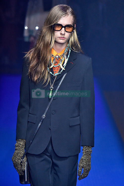 Model Mads Teglers walks on the runway during the Gucci Fashion Show during Milan Fashion Week Spring Summer 2018 held in Milan, Italy on September 20, 2017. (Photo by Jonas Gustavsson/Sipa USA)