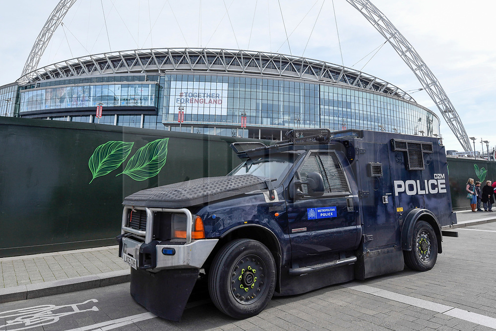 © Licensed to London News Pictures. 26/03/2017. London, UK. A heavily armoured police vehicle is seen parked close to the stadium.  Following the Westminster terrorist attack, a visible security presence is on display outside Wembley Stadium for the World Cup qualifier match between England and Lithuania.  Photo credit : Stephen Chung/LNP