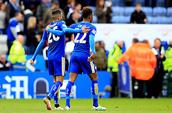 Riyad Mahrez of Leicester City celebrates with Demarai Gray of Leicester City at full time - Mandatory by-line: Matt McNulty/JMP - 24/04/2016 - FOOTBALL - King Power Stadium - Leicester, England - Leicester City v Swansea City - Barclays Premier League