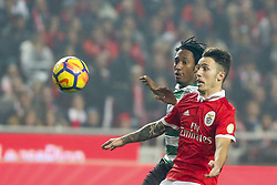 January 3, 2018 - Lisbon, Portugal - Benfica's defender Alejandro Grimaldo (R) vies with Sporting's forward Gelson Martins during the Portuguese League  football match between SL Benfica and Sporting CP at Luz  Stadium in Lisbon on January 3, 2018. (Credit Image: © Carlos Costa/NurPhoto via ZUMA Press)